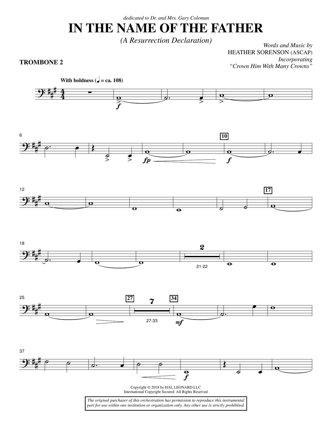 Heather Sorenson In the Name of the Father (A Resurrection Declaration) - Trombone 2 sheet music preview music notes and score for Choir Instrumental Pak including 3 page(s)