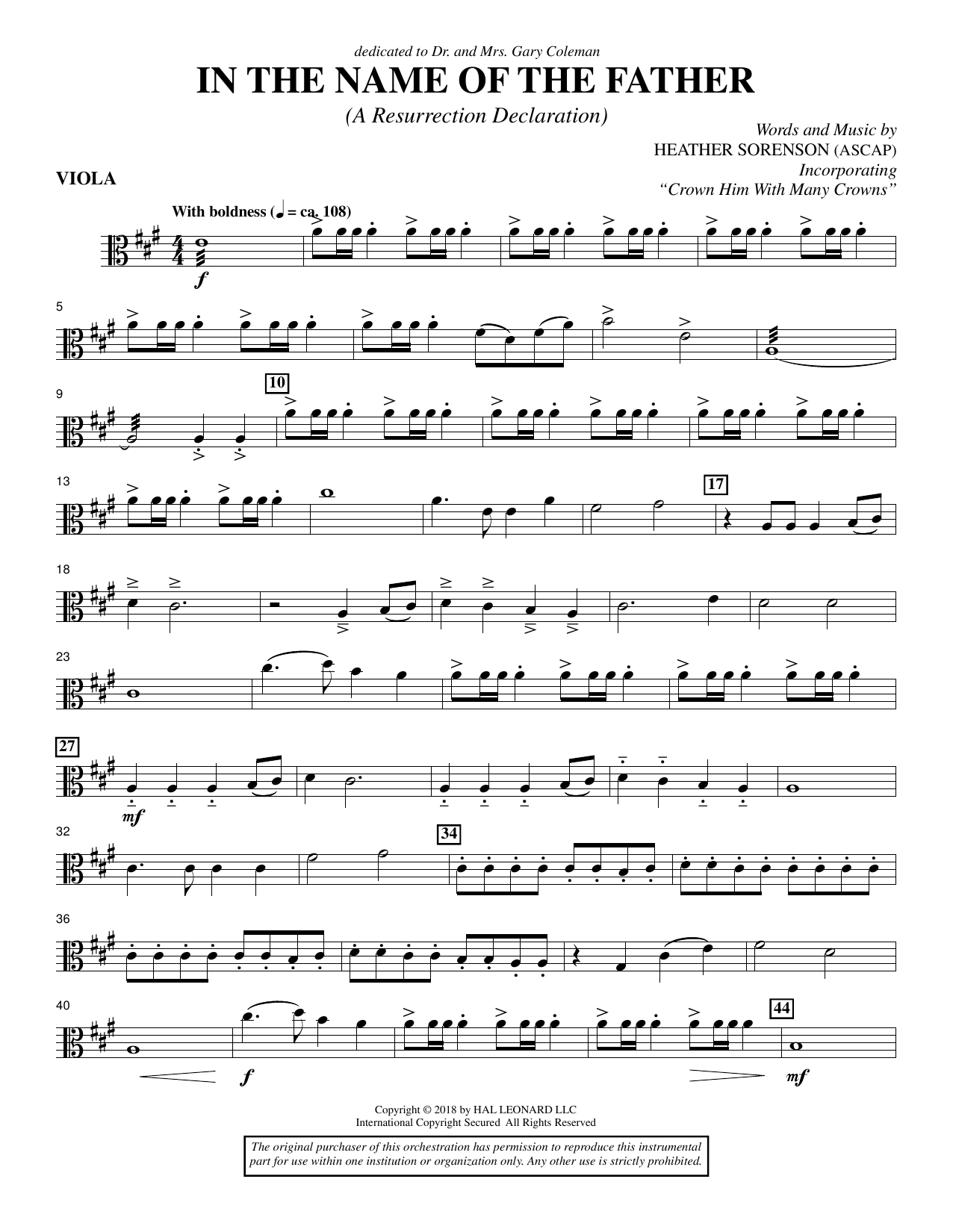 Heather Sorenson In the Name of the Father (A Resurrection Declaration) - Viola sheet music preview music notes and score for Choir Instrumental Pak including 3 page(s)