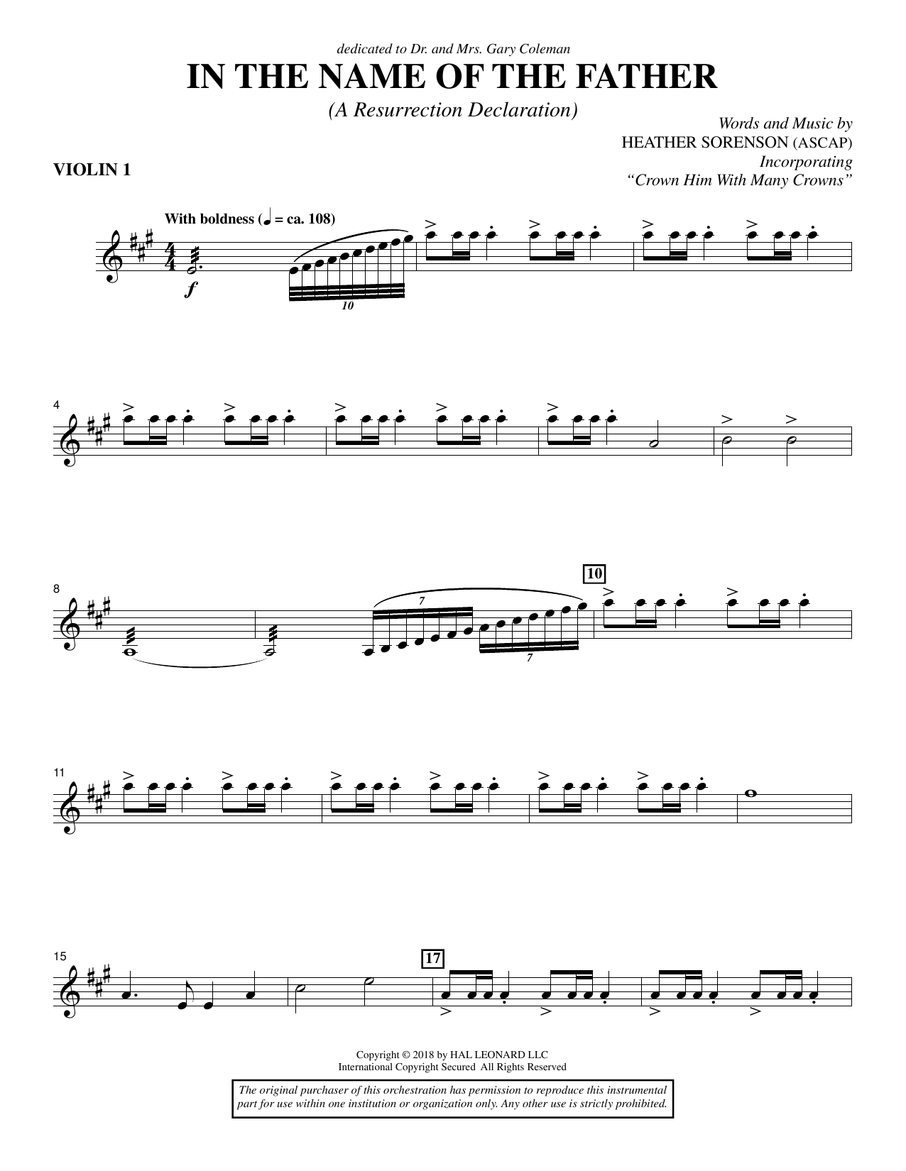 Heather Sorenson In the Name of the Father (A Resurrection Declaration) - Violin 1 sheet music preview music notes and score for Choir Instrumental Pak including 4 page(s)