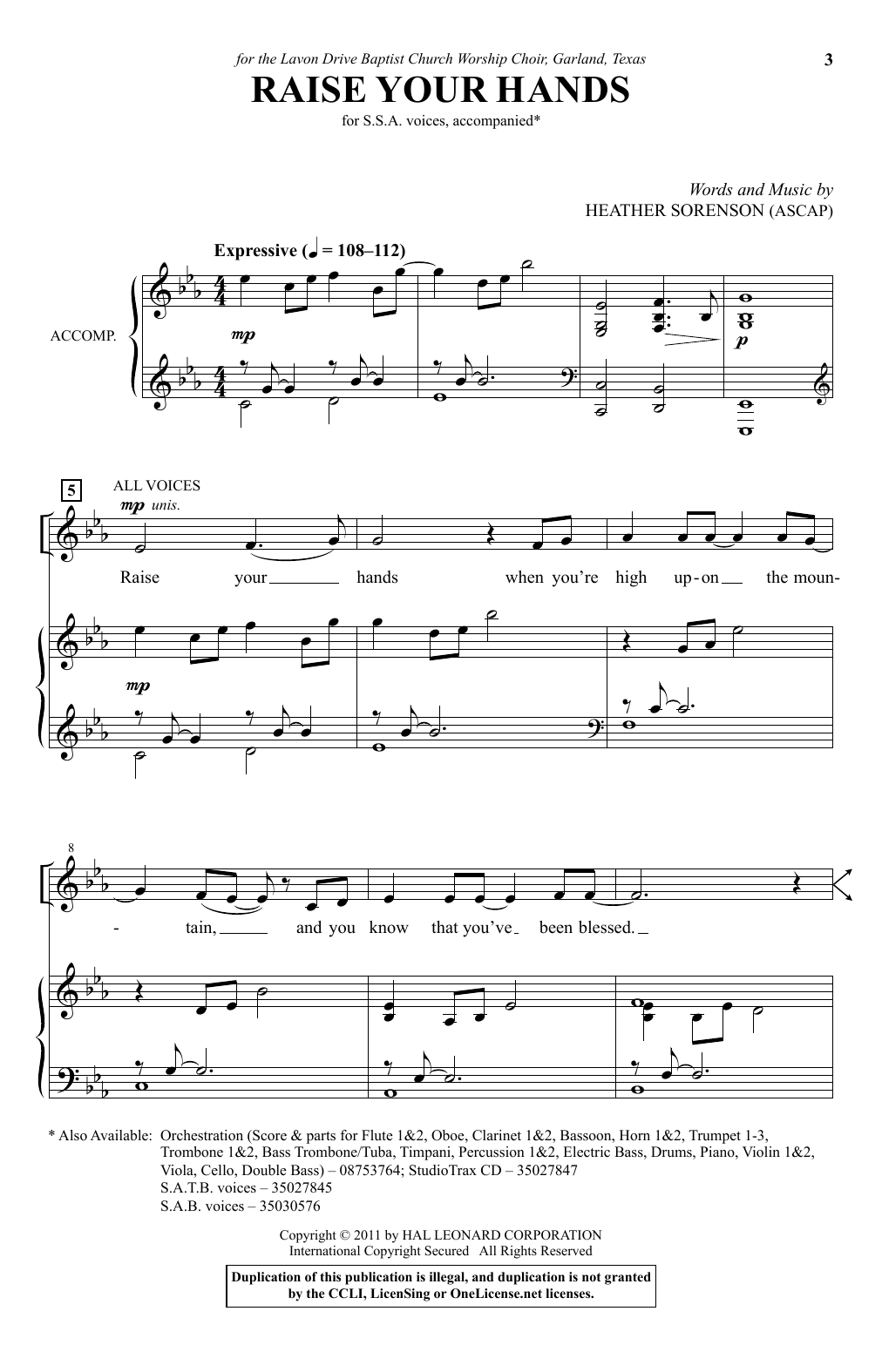 Download Heather Sorenson 'Raise Your Hands' Digital Sheet Music Notes & Chords and start playing in minutes