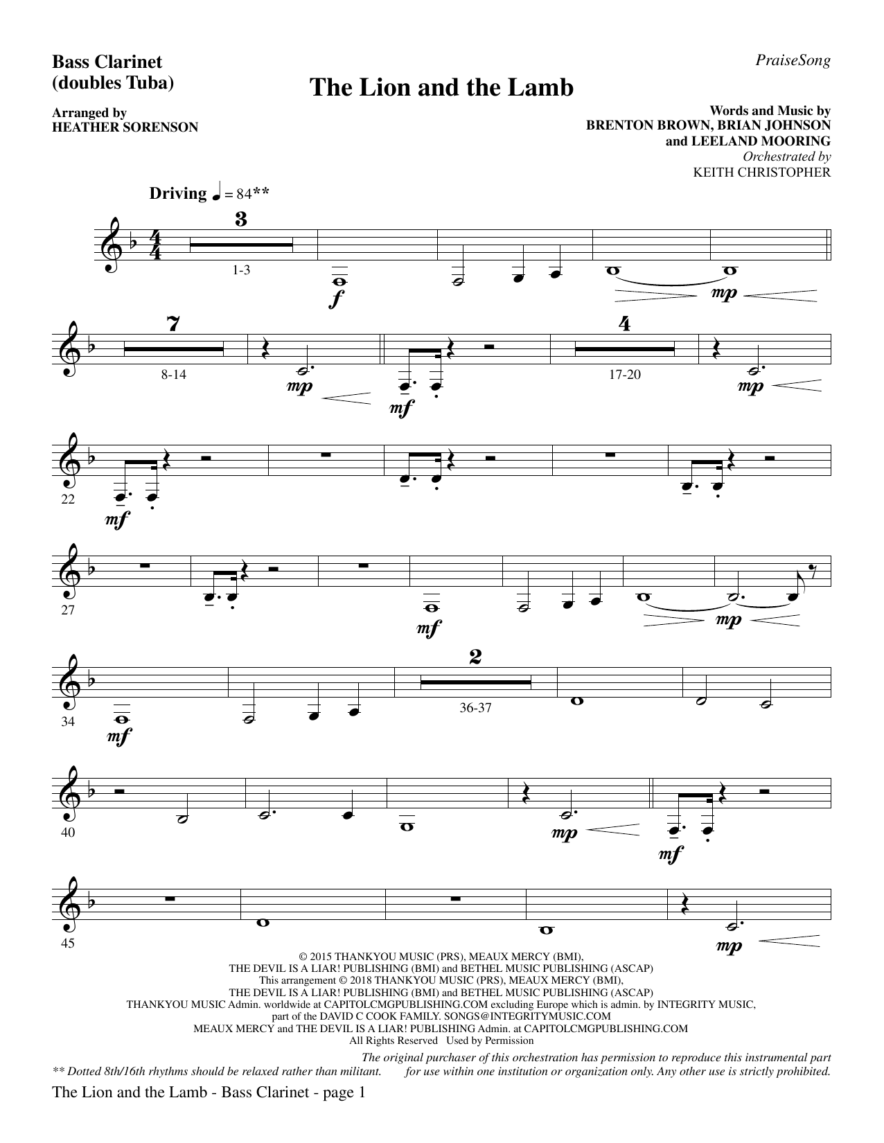 Heather Sorenson The Lion and the Lamb (with All Hail the Power of Jesus' Name) - Bass Clarinet (sub. Tuba) sheet music preview music notes and score for Choir Instrumental Pak including 3 page(s)