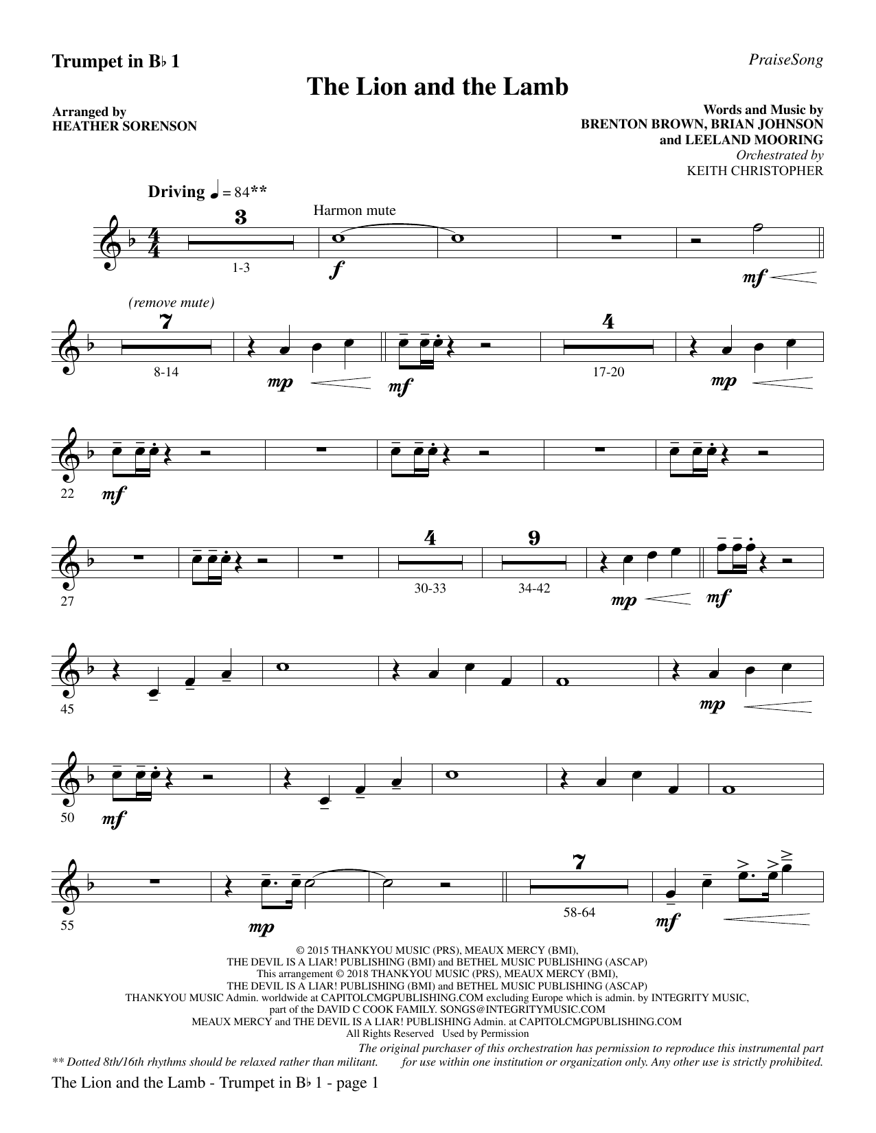 Heather Sorenson The Lion and the Lamb (with All Hail the Power of Jesus' Name) - Bb Trumpet 1 sheet music preview music notes and score for Choir Instrumental Pak including 3 page(s)