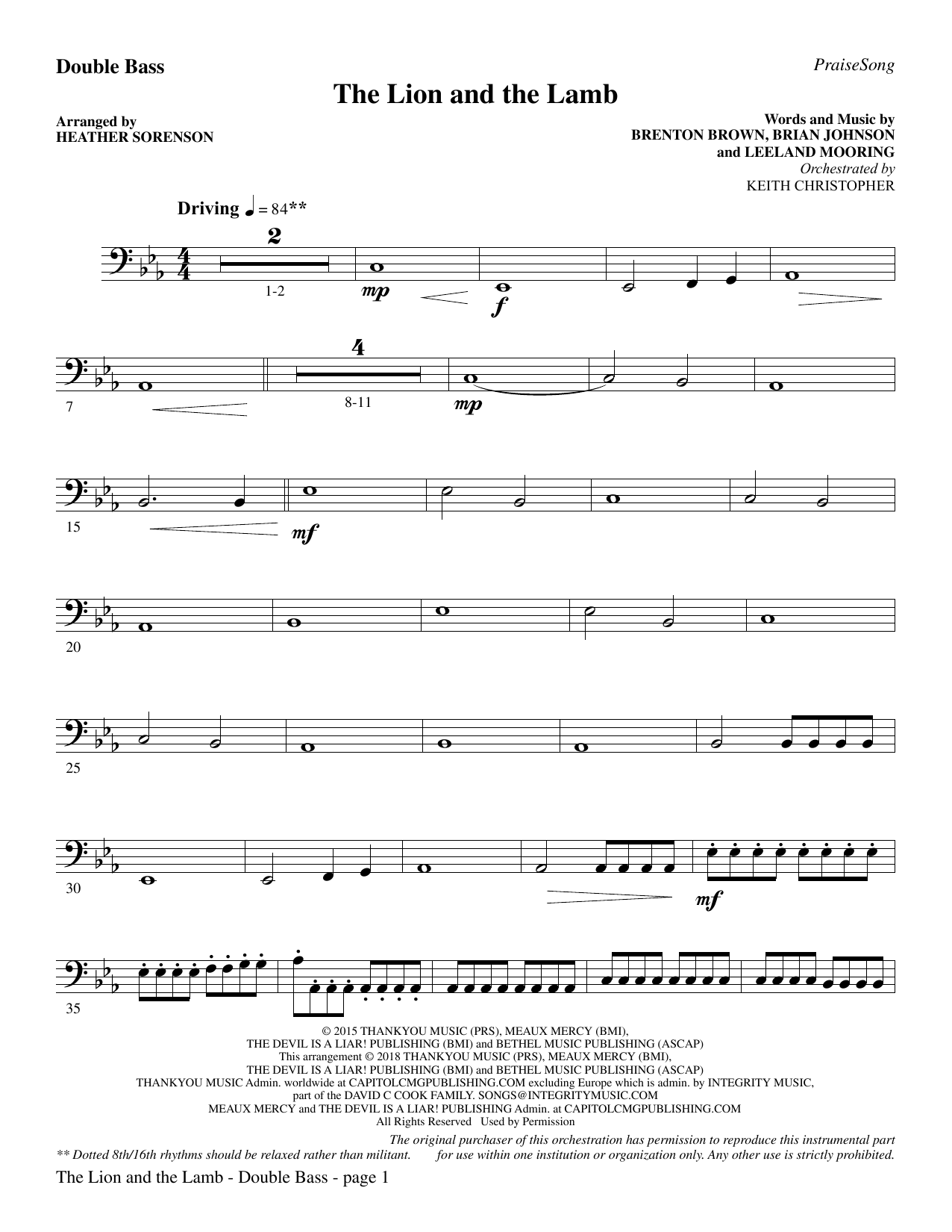 Heather Sorenson The Lion and the Lamb (with All Hail the Power of Jesus' Name) - Double Bass sheet music preview music notes and score for Choir Instrumental Pak including 4 page(s)