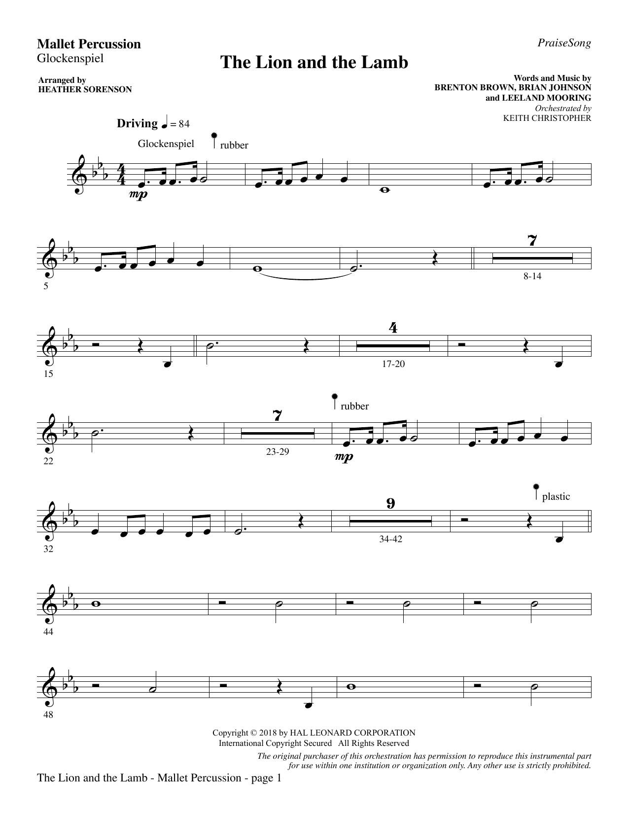 Heather Sorenson The Lion and the Lamb (with All Hail the Power of Jesus' Name) - Mallet Percussion sheet music preview music notes and score for Choir Instrumental Pak including 3 page(s)