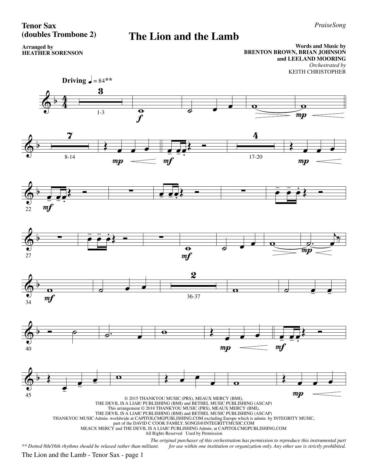 Heather Sorenson The Lion and the Lamb (with All Hail the Power of Jesus' Name) - Tenor Sax (sub. Tbn 2) sheet music preview music notes and score for Choir Instrumental Pak including 3 page(s)