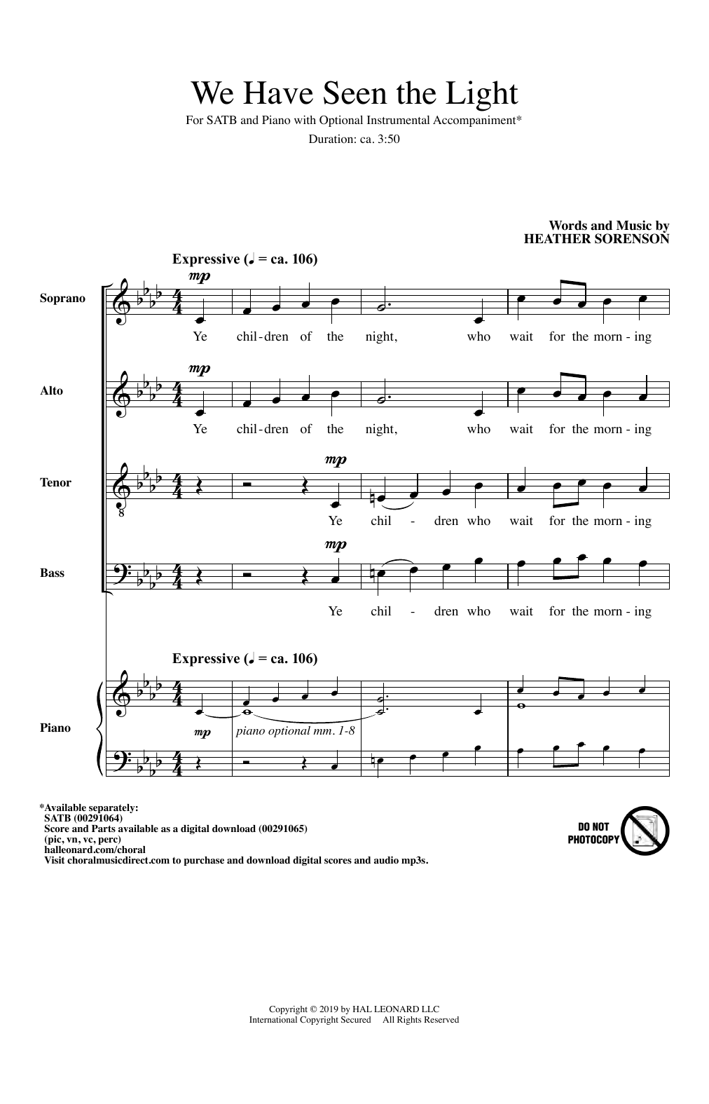 Download Heather Sorenson 'We Have Seen The Light' Digital Sheet Music Notes & Chords and start playing in minutes