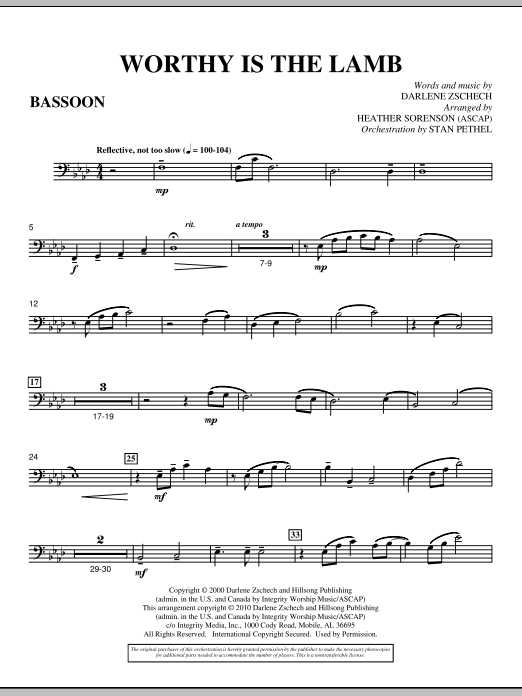 Heather Sorenson Worthy Is The Lamb - Bassoon sheet music preview music notes and score for Choir Instrumental Pak including 3 page(s)