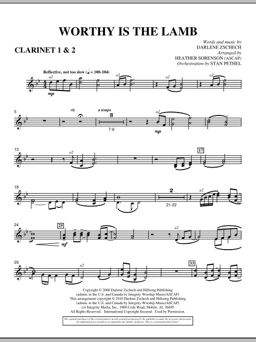 Heather Sorenson Worthy Is The Lamb - Bb Clarinet 1,2 sheet music preview music notes and score for Choir Instrumental Pak including 3 page(s)
