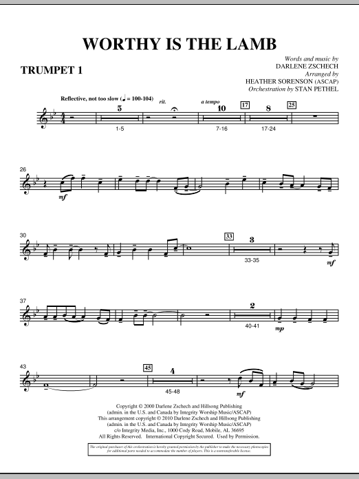 Heather Sorenson Worthy Is The Lamb - Bb Trumpet 1 sheet music preview music notes and score for Choir Instrumental Pak including 2 page(s)