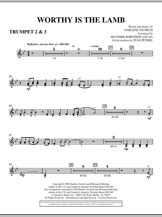 Heather Sorenson Worthy Is The Lamb - Bb Trumpet 2,3 sheet music preview music notes and score for Choir Instrumental Pak including 2 page(s)