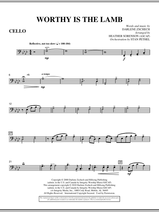 Heather Sorenson Worthy Is The Lamb - Cello sheet music preview music notes and score for Choir Instrumental Pak including 3 page(s)