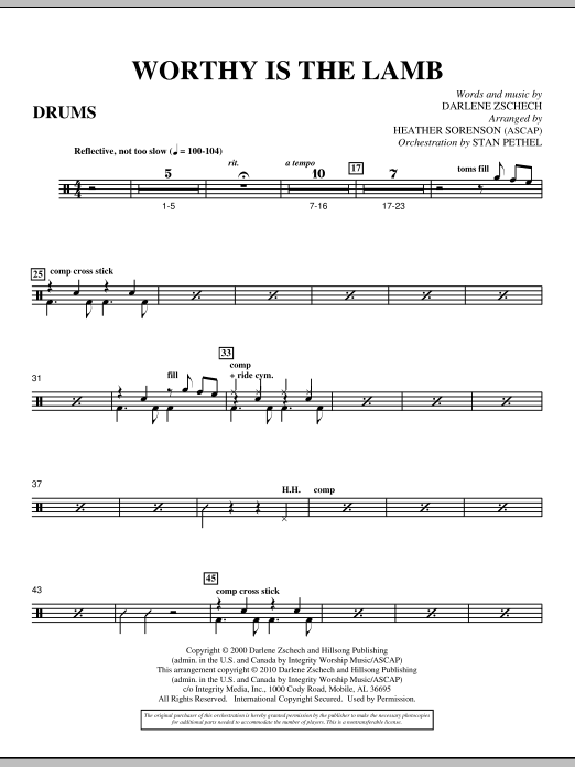 Heather Sorenson Worthy Is The Lamb - Drum Set sheet music preview music notes and score for Choir Instrumental Pak including 2 page(s)