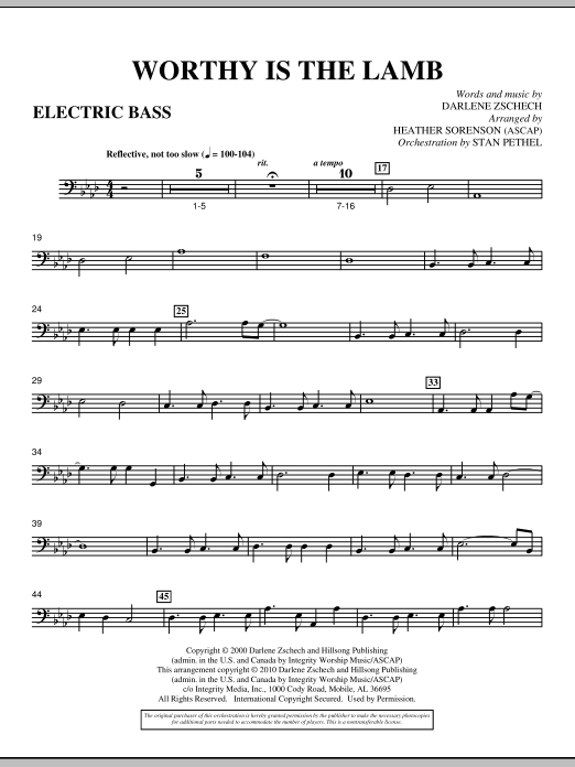 Heather Sorenson Worthy Is The Lamb - Electric Bass sheet music preview music notes and score for Choir Instrumental Pak including 2 page(s)