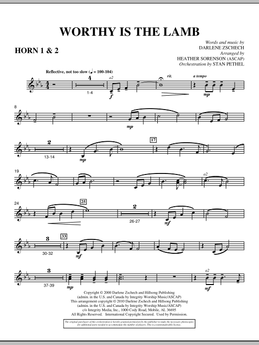 Heather Sorenson Worthy Is The Lamb - F Horn 1,2 sheet music preview music notes and score for Choir Instrumental Pak including 2 page(s)