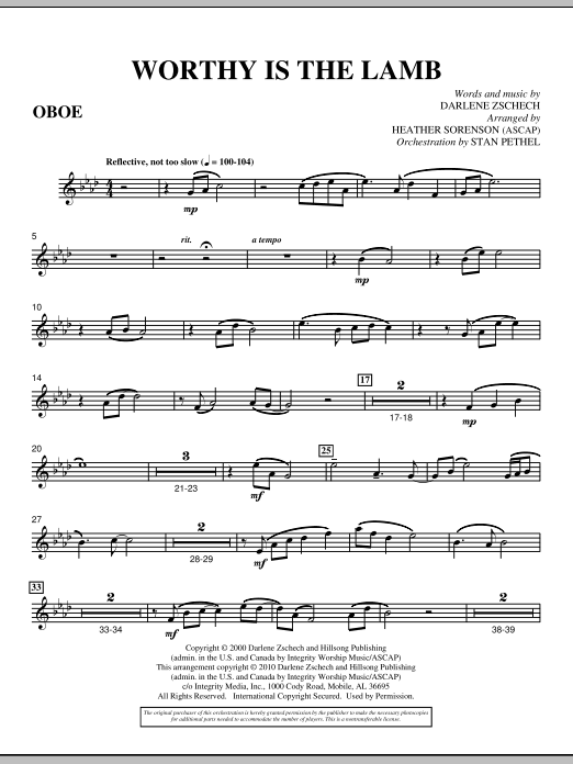 Heather Sorenson Worthy Is The Lamb - Oboe sheet music preview music notes and score for Choir Instrumental Pak including 2 page(s)