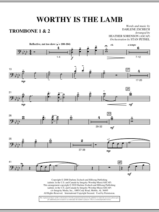 Heather Sorenson Worthy Is The Lamb - Trombone 1 & 2 sheet music preview music notes and score for Choir Instrumental Pak including 2 page(s)