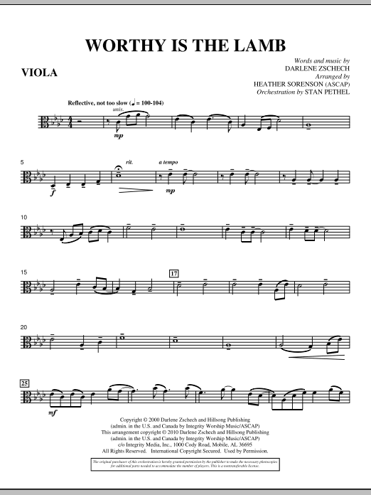 Heather Sorenson Worthy Is The Lamb - Viola sheet music preview music notes and score for Choir Instrumental Pak including 3 page(s)