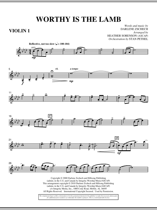 Heather Sorenson Worthy Is The Lamb - Violin 1 sheet music preview music notes and score for Choir Instrumental Pak including 3 page(s)
