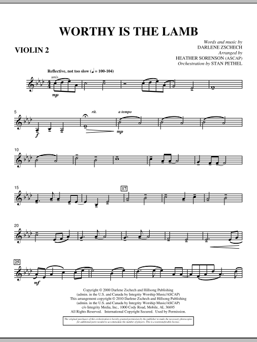 Heather Sorenson Worthy Is The Lamb - Violin 2 sheet music preview music notes and score for Choir Instrumental Pak including 3 page(s)
