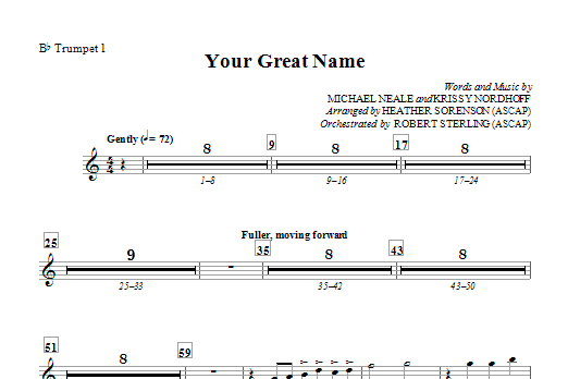 Heather Sorenson Your Great Name - Bb Trumpet 1 sheet music preview music notes and score for Choir Instrumental Pak including 1 page(s)