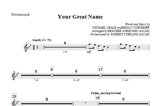Heather Sorenson Your Great Name - Glockenspiel sheet music preview music notes and score for Choir Instrumental Pak including 1 page(s)