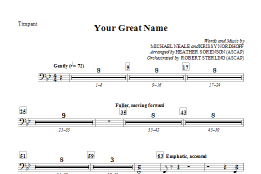 Heather Sorenson Your Great Name - Timpani sheet music preview music notes and score for Choir Instrumental Pak including 1 page(s)