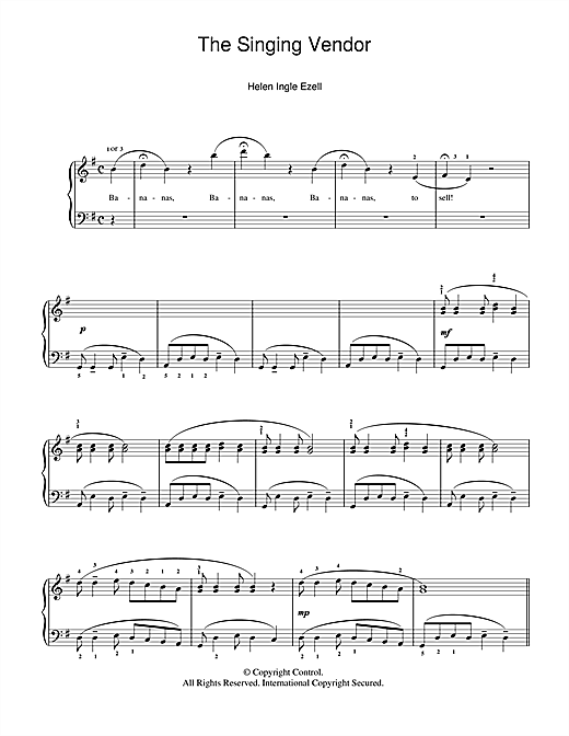 Download Helen Ingle Ezell 'The Singing Vendor' Digital Sheet Music Notes & Chords and start playing in minutes