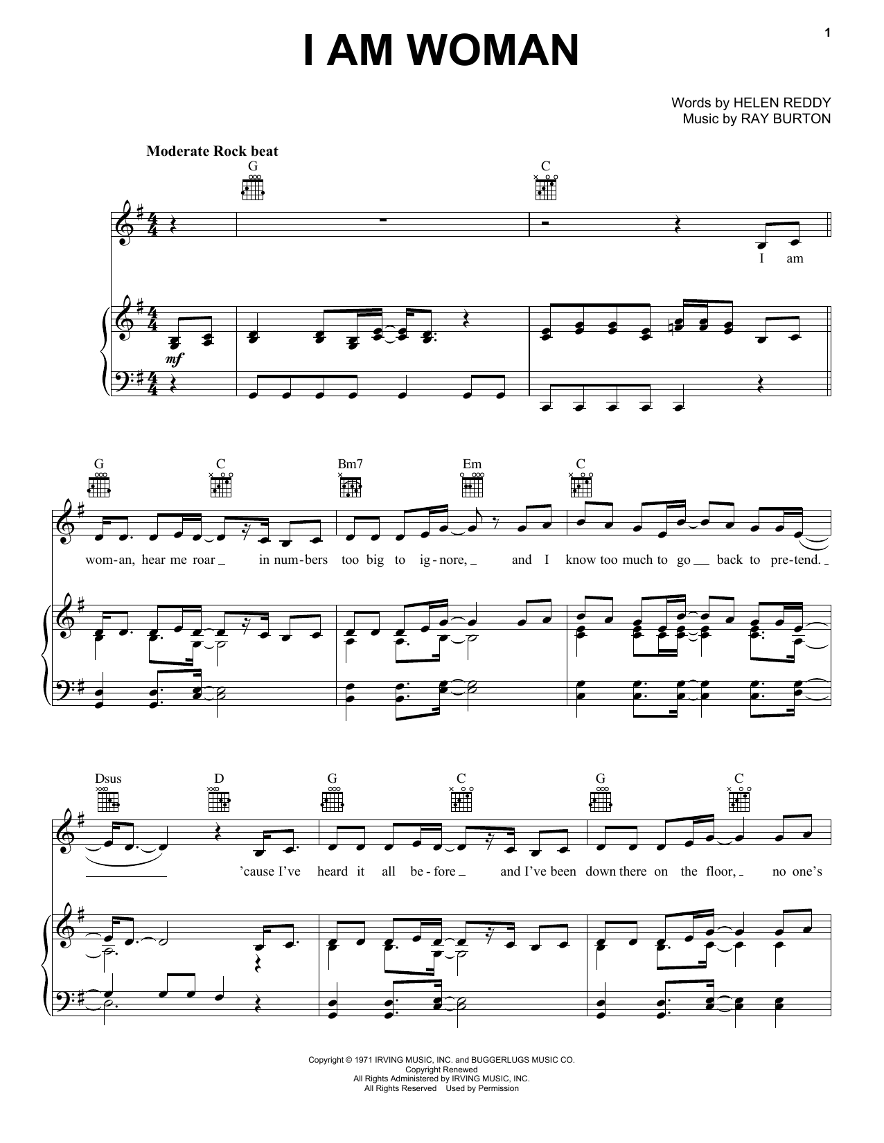 Helen Reddy I Am Woman sheet music preview music notes and score for Melody Line, Lyrics & Chords including 2 page(s)