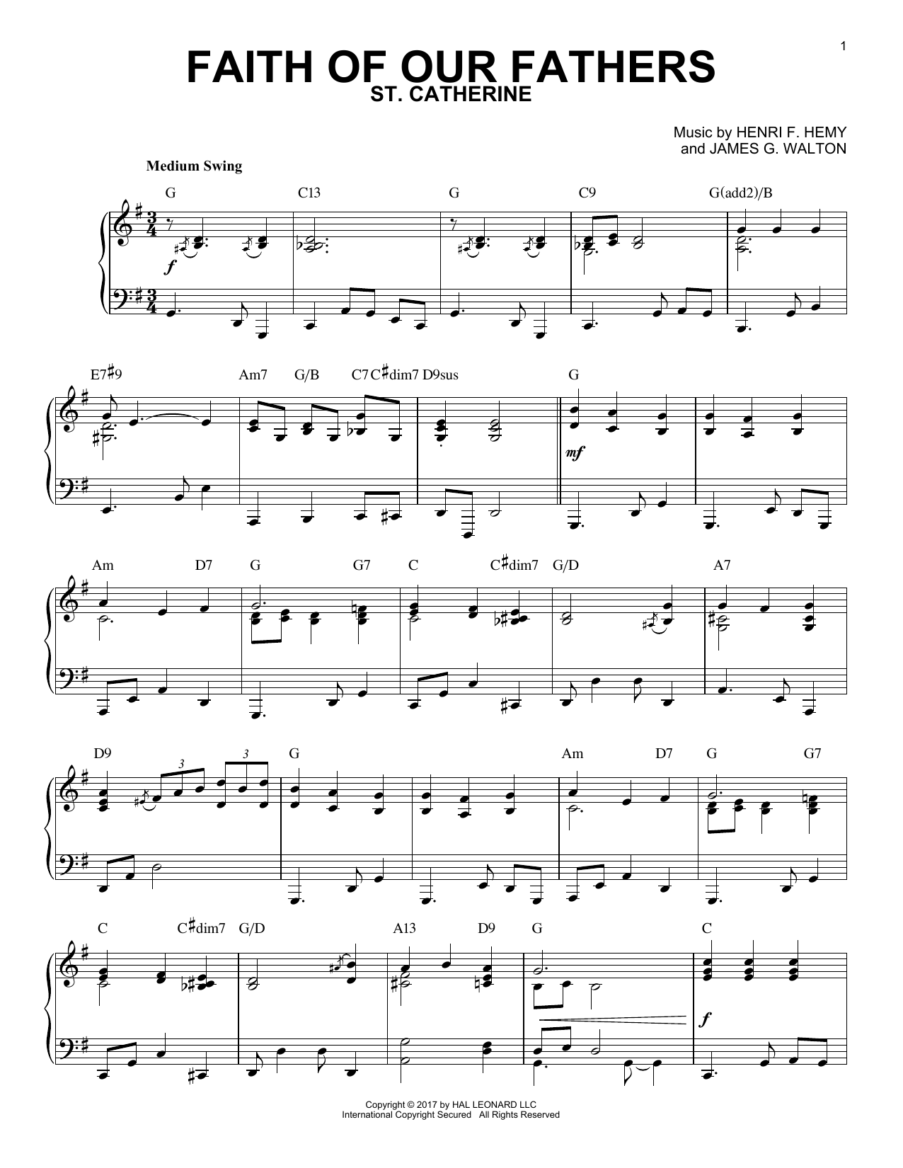 Download Henri F. Hemy 'Faith Of Our Fathers' Digital Sheet Music Notes & Chords and start playing in minutes