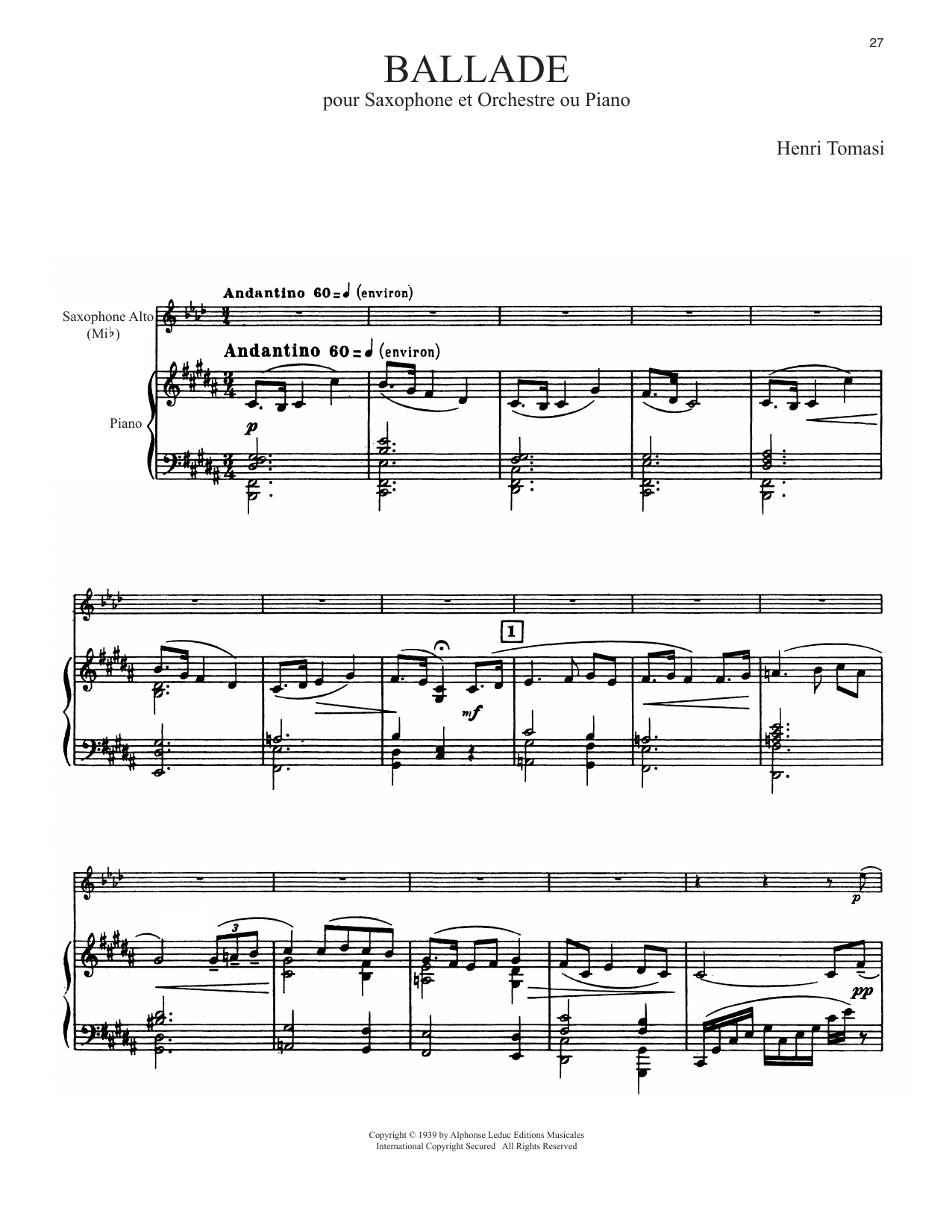 Download Henri Tomasi 'Ballade' Digital Sheet Music Notes & Chords and start playing in minutes