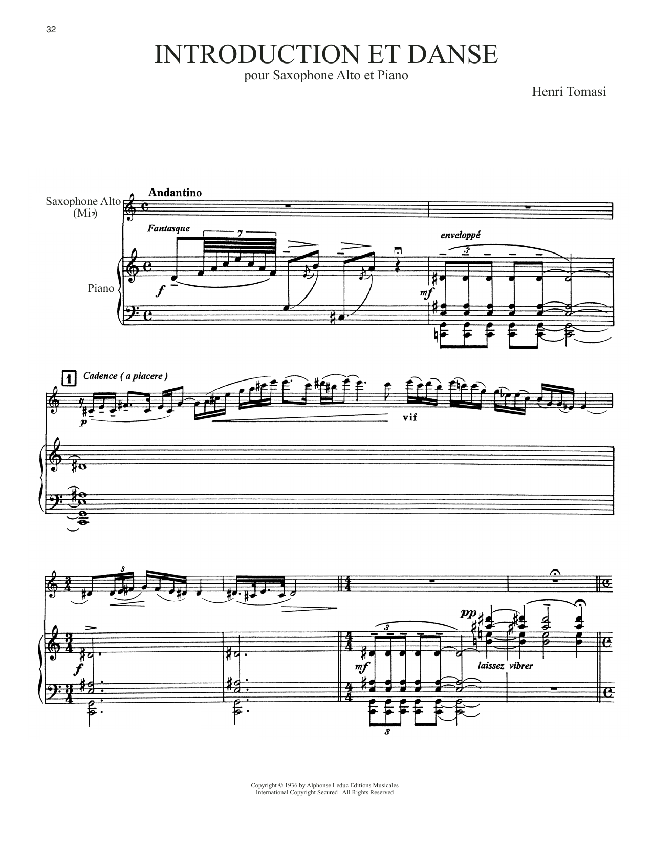 Download Henri Tomasi 'Introduction Et Danse' Digital Sheet Music Notes & Chords and start playing in minutes