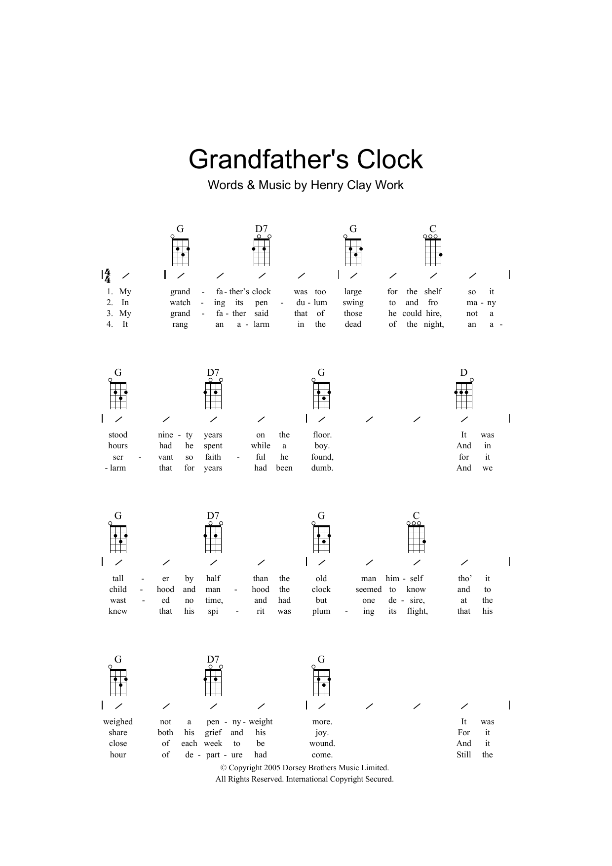 Henry Clay Work Grandfather's Clock sheet music preview music notes and score for Ukulele with strumming patterns including 2 page(s)