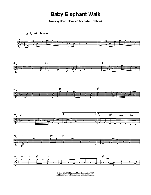 Download Henry Mancini 'Baby Elephant Walk' Digital Sheet Music Notes & Chords and start playing in minutes