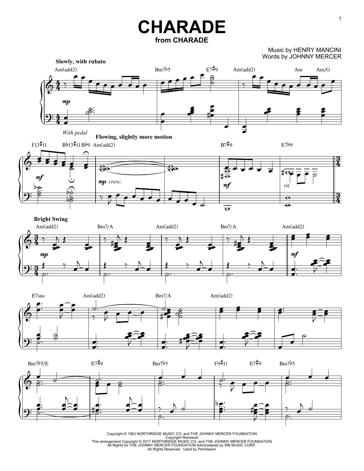 Download Henry Mancini 'Charade' Digital Sheet Music Notes & Chords and start playing in minutes