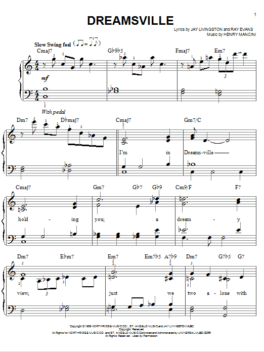 Download Henry Mancini 'Dreamsville' Digital Sheet Music Notes & Chords and start playing in minutes