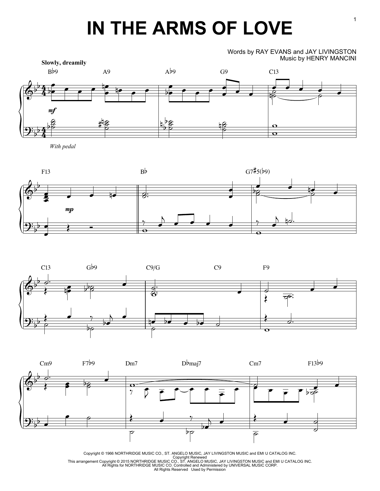 Download Henry Mancini 'In The Arms Of Love' Digital Sheet Music Notes & Chords and start playing in minutes
