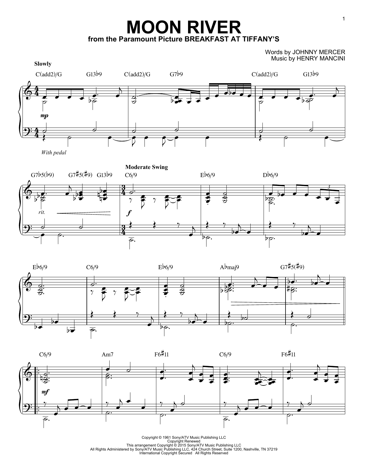 Download Henry Mancini 'Moon River' Digital Sheet Music Notes & Chords and start playing in minutes