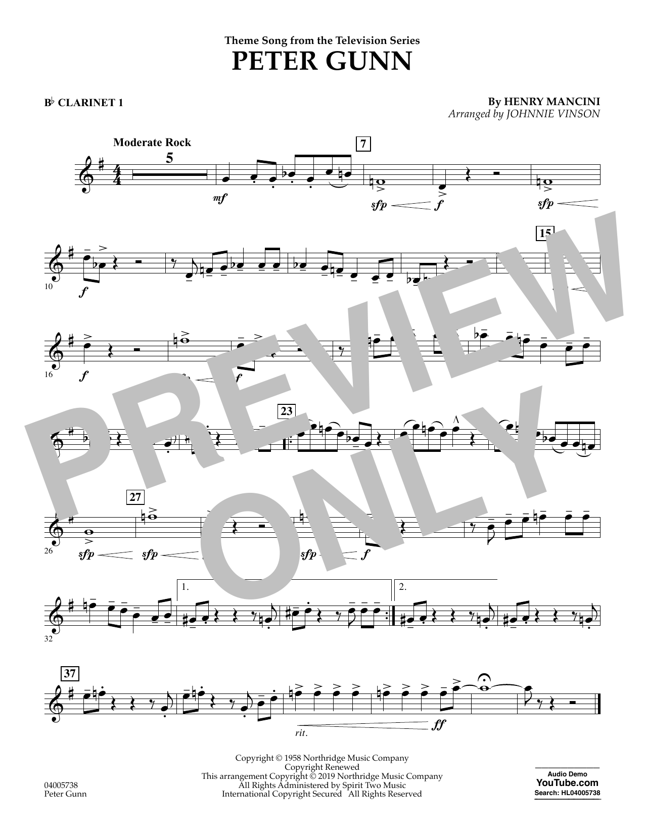 Henry Mancini Peter Gunn (arr. Johnnie Vinson) - Bb Clarinet 1 sheet music preview music notes and score for Concert Band including 1 page(s)