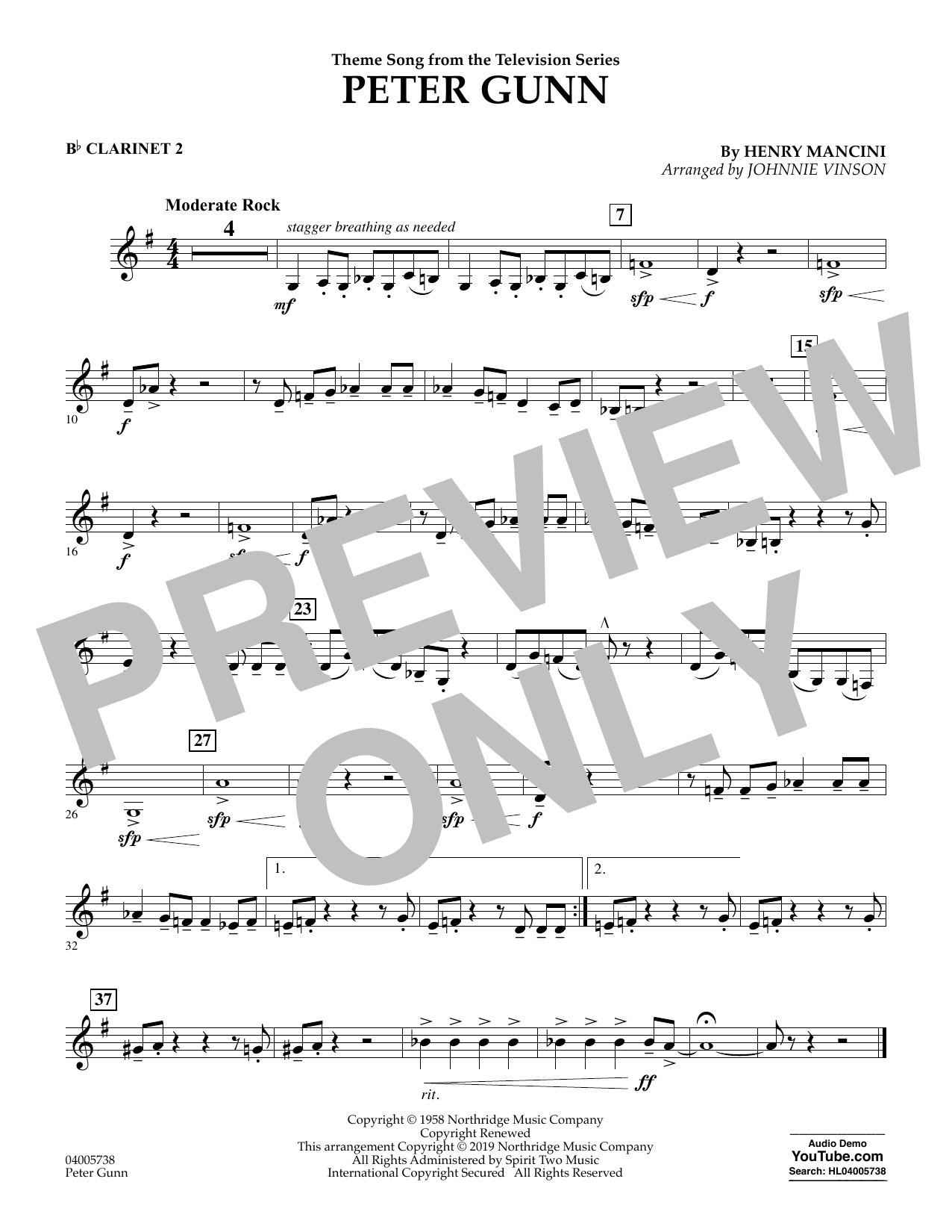 Henry Mancini Peter Gunn (arr. Johnnie Vinson) - Bb Clarinet 2 sheet music preview music notes and score for Concert Band including 1 page(s)