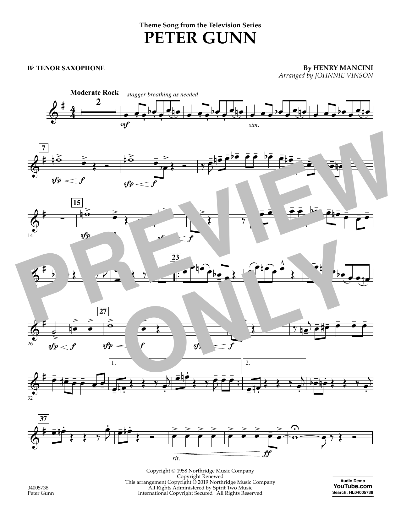 Henry Mancini Peter Gunn (arr. Johnnie Vinson) - Bb Tenor Saxophone sheet music preview music notes and score for Concert Band including 1 page(s)