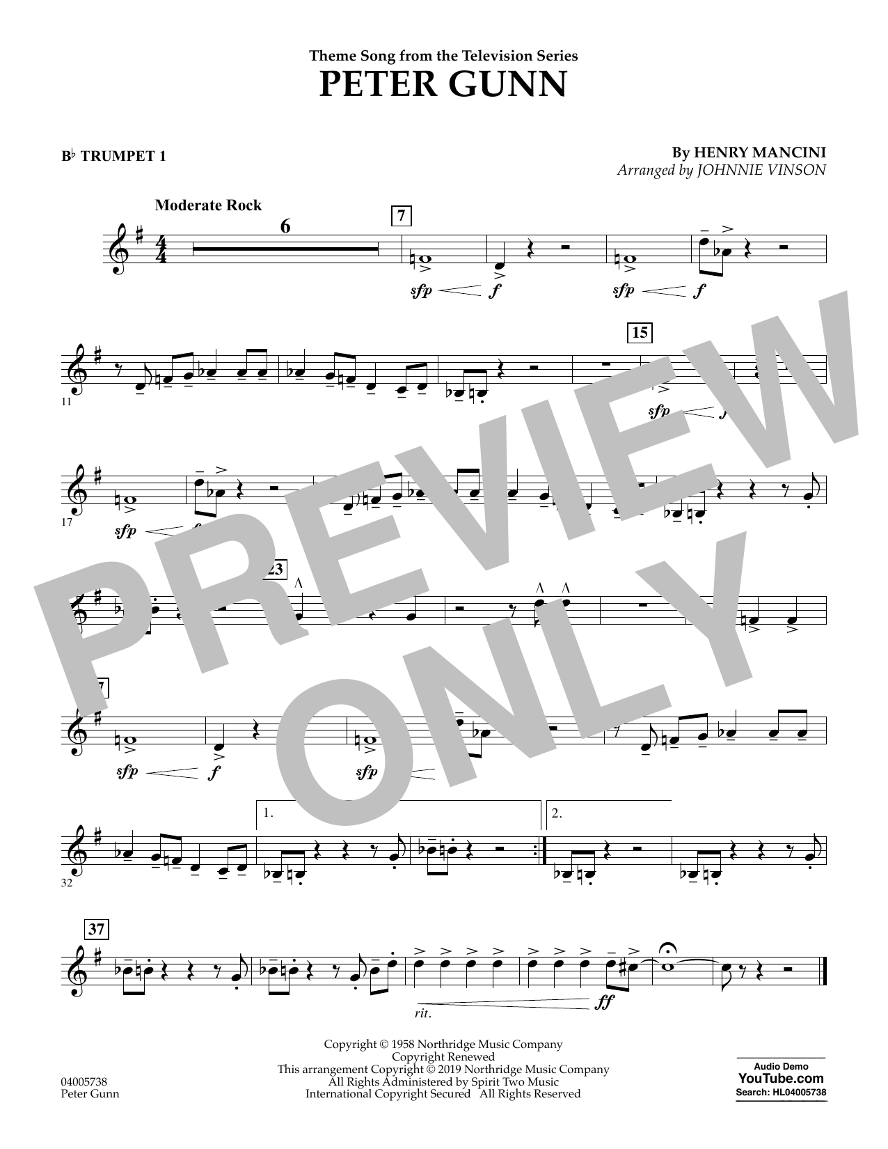 Henry Mancini Peter Gunn (arr. Johnnie Vinson) - Bb Trumpet 1 sheet music preview music notes and score for Concert Band including 1 page(s)