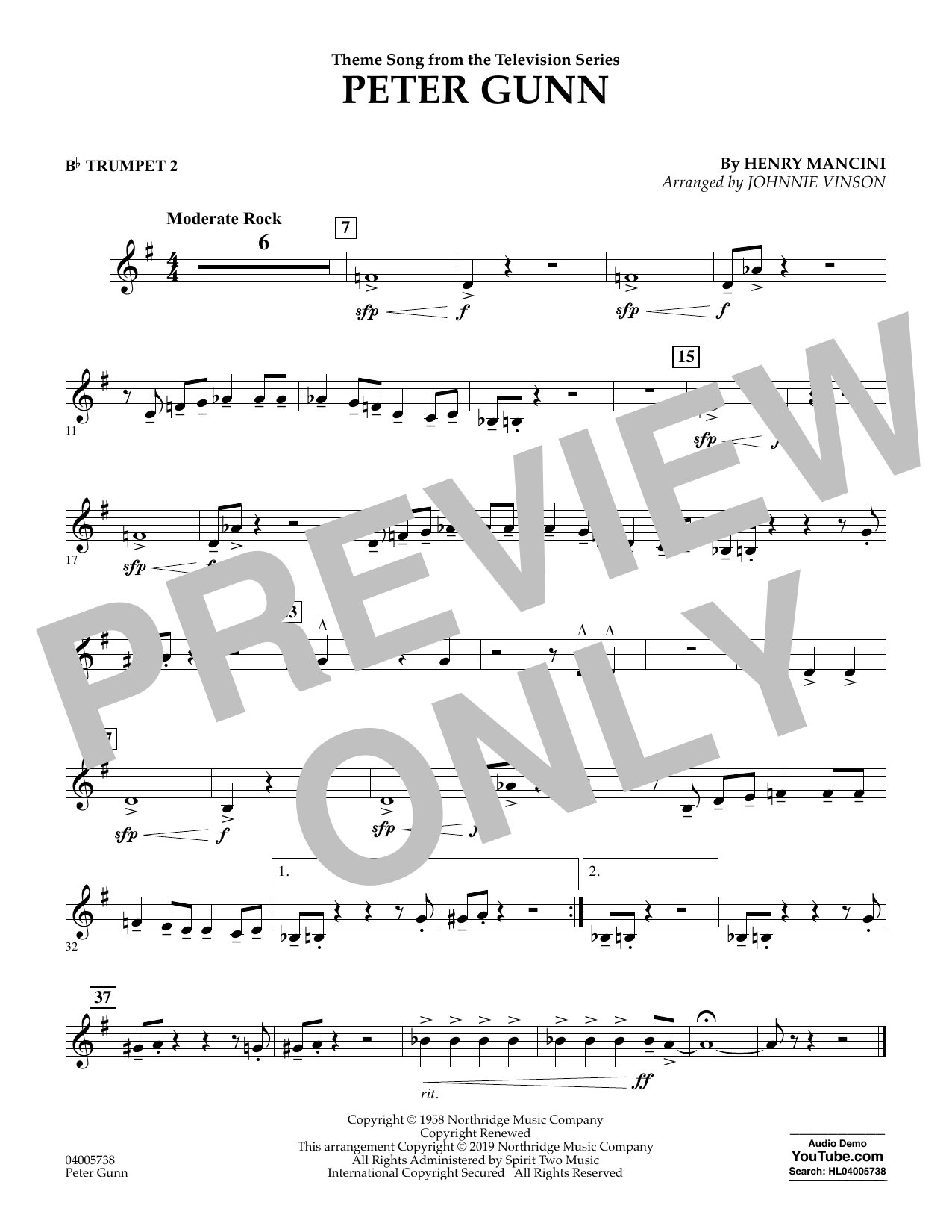 Henry Mancini Peter Gunn (arr. Johnnie Vinson) - Bb Trumpet 2 sheet music preview music notes and score for Concert Band including 1 page(s)