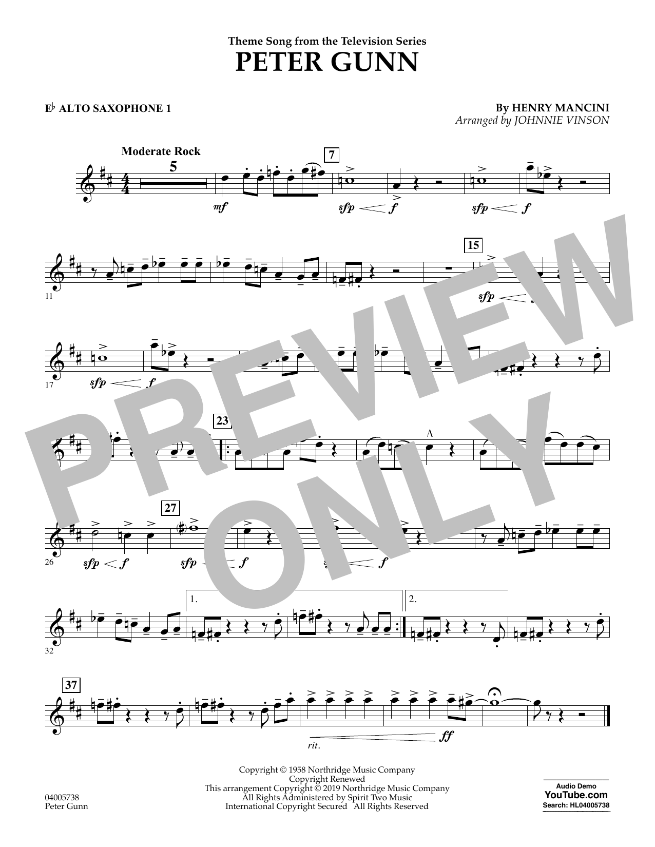 Henry Mancini Peter Gunn (arr. Johnnie Vinson) - Eb Alto Saxophone 1 sheet music preview music notes and score for Concert Band including 1 page(s)