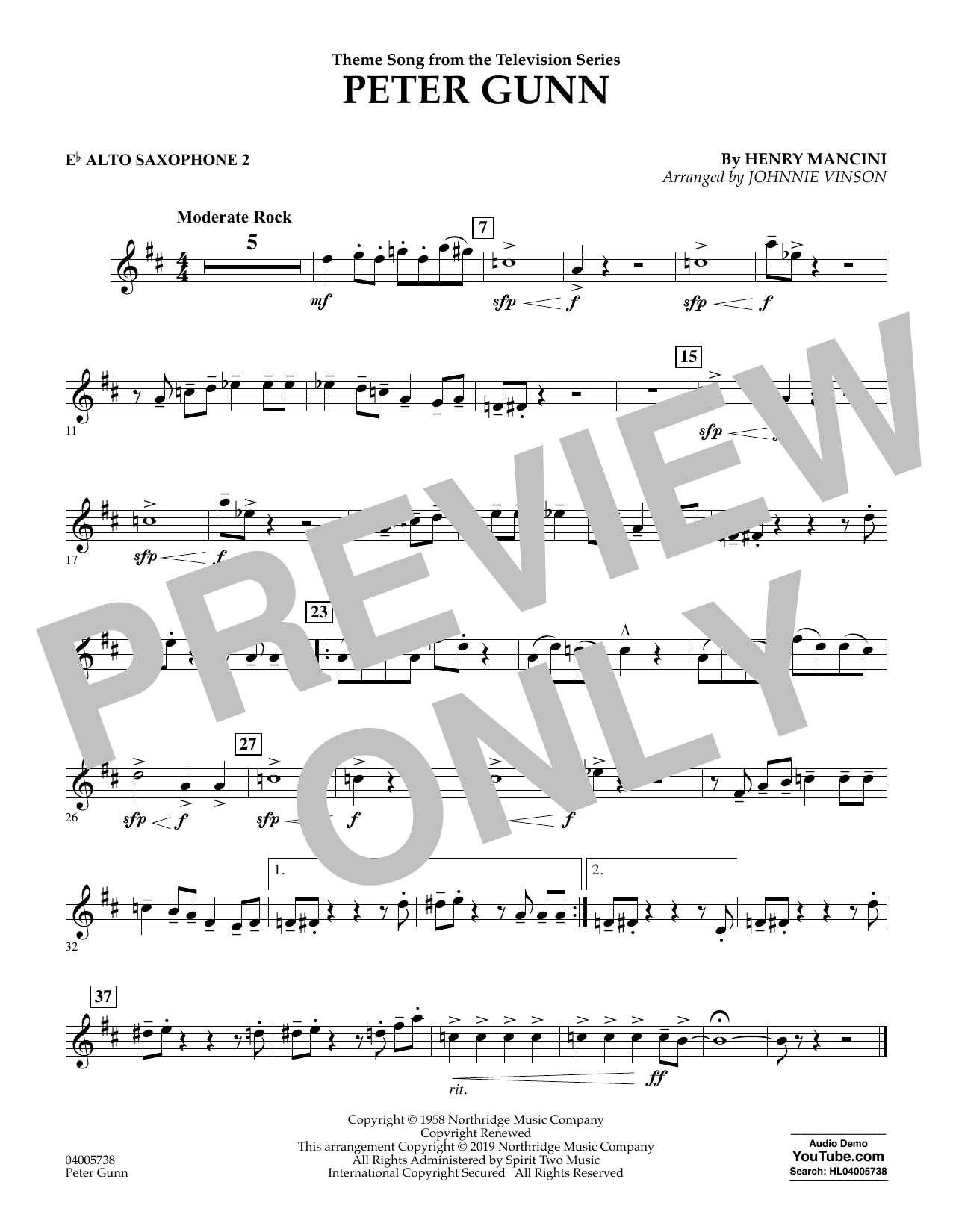 Henry Mancini Peter Gunn (arr. Johnnie Vinson) - Eb Alto Saxophone 2 sheet music preview music notes and score for Concert Band including 1 page(s)