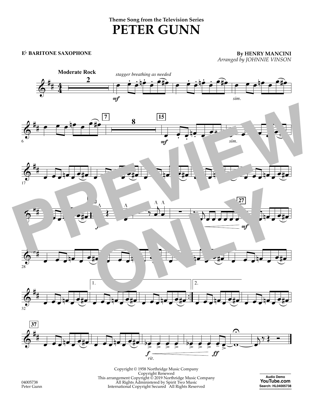 Henry Mancini Peter Gunn (arr. Johnnie Vinson) - Eb Baritone Saxophone sheet music preview music notes and score for Concert Band including 1 page(s)