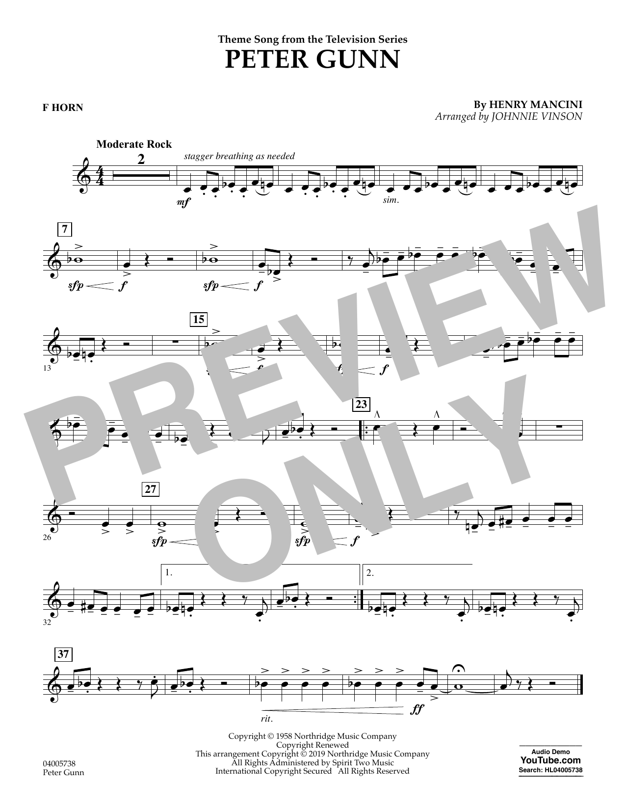 Henry Mancini Peter Gunn (arr. Johnnie Vinson) - F Horn sheet music preview music notes and score for Concert Band including 1 page(s)