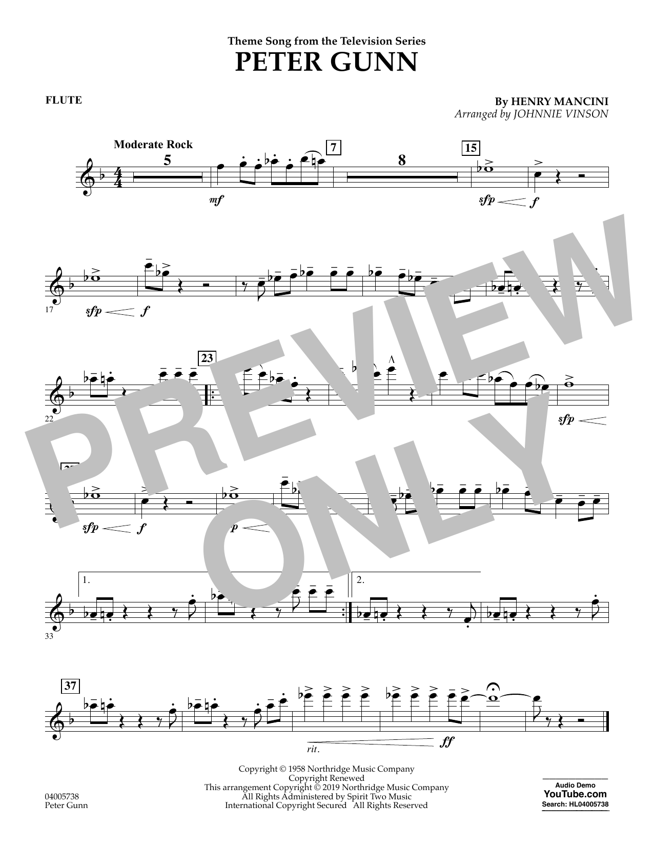 Henry Mancini Peter Gunn (arr. Johnnie Vinson) - Flute sheet music preview music notes and score for Concert Band including 1 page(s)