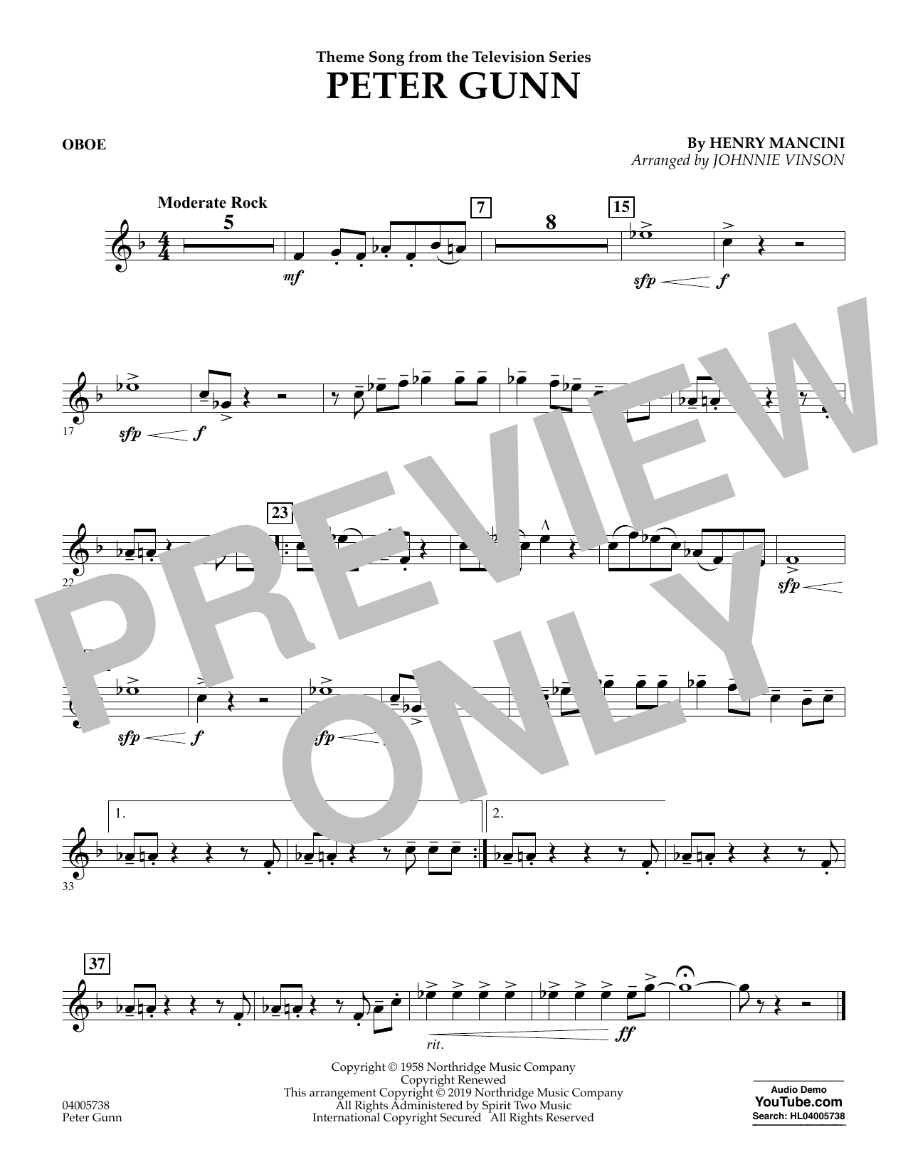 Henry Mancini Peter Gunn (arr. Johnnie Vinson) - Oboe sheet music preview music notes and score for Concert Band including 1 page(s)