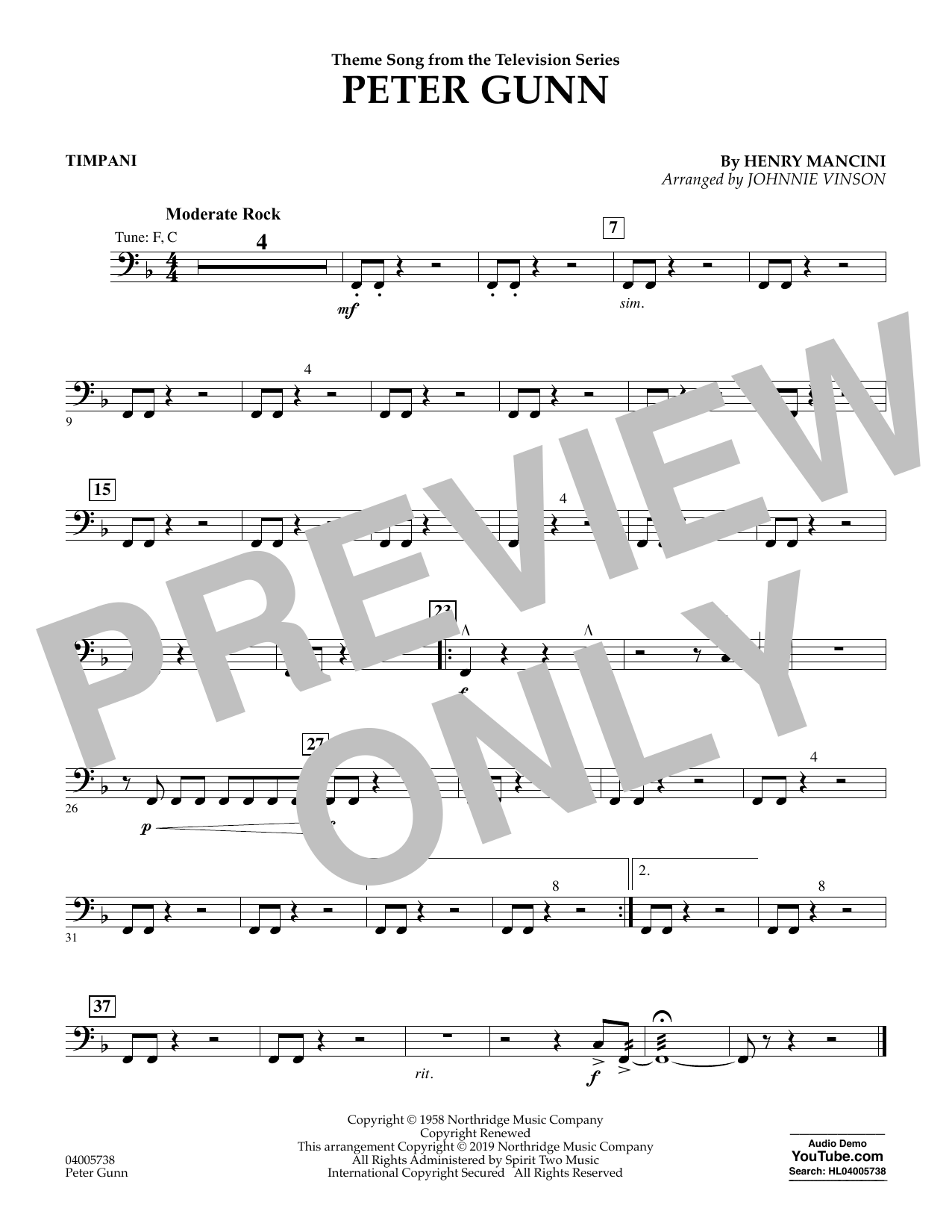 Henry Mancini Peter Gunn (arr. Johnnie Vinson) - Timpani sheet music preview music notes and score for Concert Band including 1 page(s)
