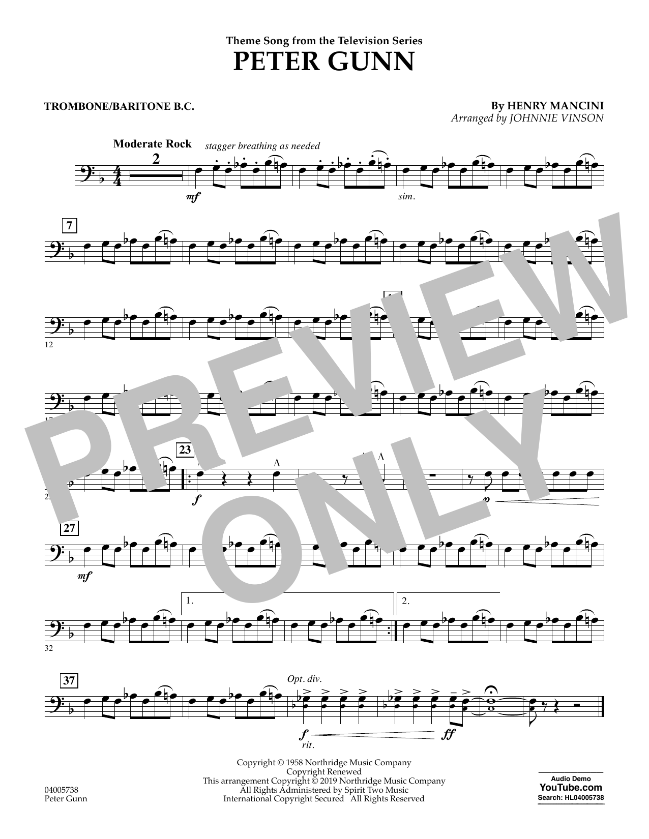 Henry Mancini Peter Gunn (arr. Johnnie Vinson) - Trombone/Baritone B.C. sheet music preview music notes and score for Concert Band including 1 page(s)